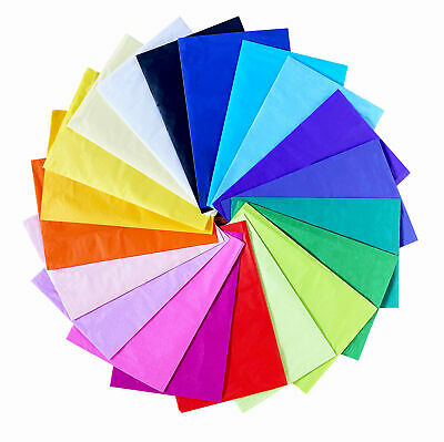20 X Tissue Paper Sheets Acid Free Coloured Wrapping 50cm X 66cm New