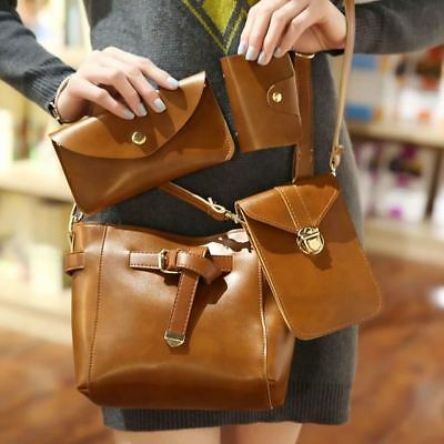 Women New Fashion Solid Pattern Bucket Shape Tassel Decorated Shoulder Bag