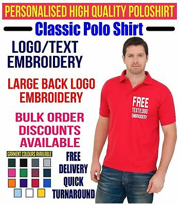 Personalised Text & Logo Embroidered Polo Shirt Uniform Workwear Custom Tee Top