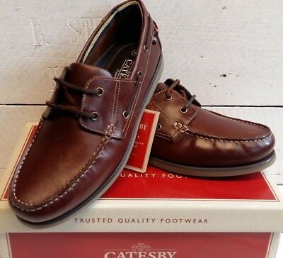 Mens Catesby Leather Dark Tan Lace Up Deck Shoes