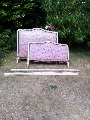vintage french bed upholstered in silk 4ft