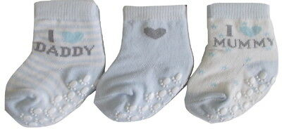 Nursery Time Baby Boys Pack of 3 of Love Mummy & Daddy Socks  (0-3 Months)