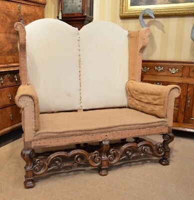 A Stunning Walnut William and Mary Style Settee. Re-upholstery project