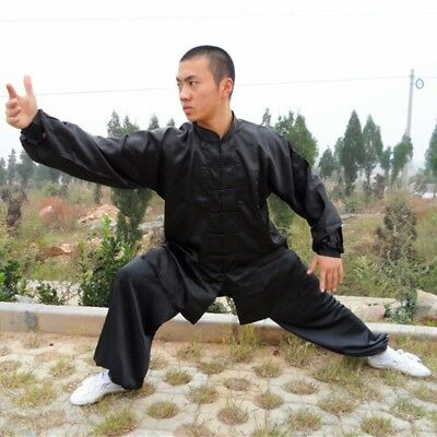 Men's Satin Tai Chi Chinese Kung Fu Suit Wing Chun Martial Arts Costume Outfit