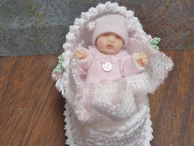 Lovely 1:12 Scale Miniature Patty Clark Baby in Basket