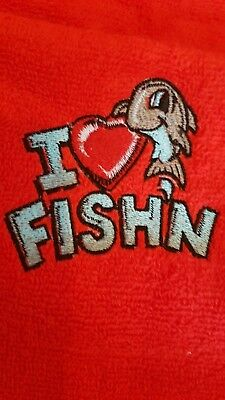 Red embroidered  personalised fishing logo towel add a name to personalise