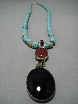 Gorgeous Tripe Tier Vintage Navajo Sterling Silver Turquoise Disced Necklace