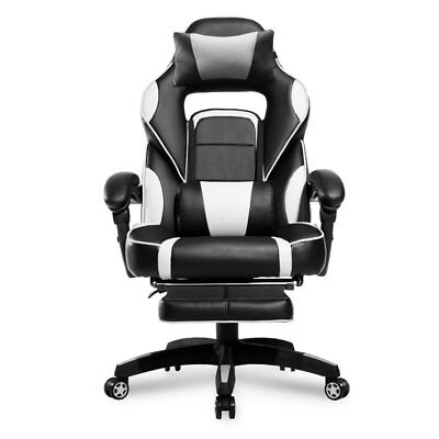 Merax PP033845 High-Back Racing Ergonomic Gaming Footrest, PU Leather Swivel ...