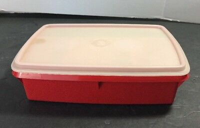 TUPPERWARE RED Stow-N-Go Storage Container 767-13 with Tray 768-13