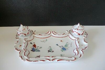 (7) ANCIEN ENCRIER PORCELAINE DU LYS ROYAL. chinoiserie.  manufacture CHANTILLY.