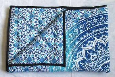 New Baby Quilt Zodiac Blue Ombre Mandala Throw Coverlet With 100% Cotton Filled