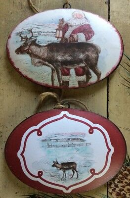 Double Sided Santa/Reindeer Metal Ornament 9 Inch Christmas Holiday North Pole