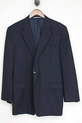 Hickey Freeman Mens Suit Coat 42R Solid Navy Blue Loro Piana Wool Jacket Only