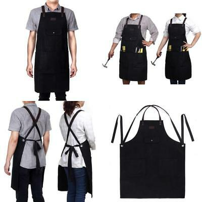 Black Waxed Canvas Work Apron Waterproof With Tool Pockets For Men  Women Utili