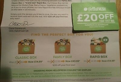 hello fresh £20 off your first box gift card voucher
