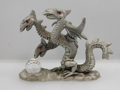 Vintage 1987 Spoontiques CMR859 Pewter Dragon with Crystal Ball