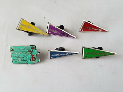Disney Trading Pins Official Flags & Fast Pass Theme Collectible Lot of 6