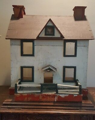 Vintage Handmade Wooden Dollhouse 10 00 Picclick