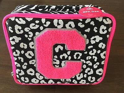 NWT Justice C Black White Pink Cheetah Zebra Leopard Lunch Box