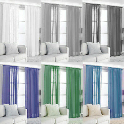 2x Slot Top Voile Net Panels Curtains Pair Room Divider Window Door Decoration