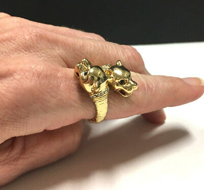 Vtg Moghul Double PANTHER Heads Crystal Cross Over Ring Gold Tone MINT! DD214k