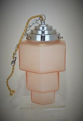 Stunning Art Deco Chrome And Stepped Pink Glass / Skyscraper Ceiling Light