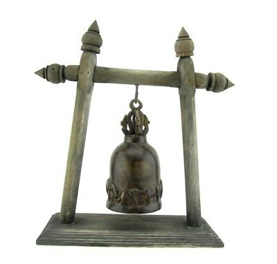 Antique Thai Elephant Buddhist Bronze Temple Bell with Wooden Stand Thailand 11""