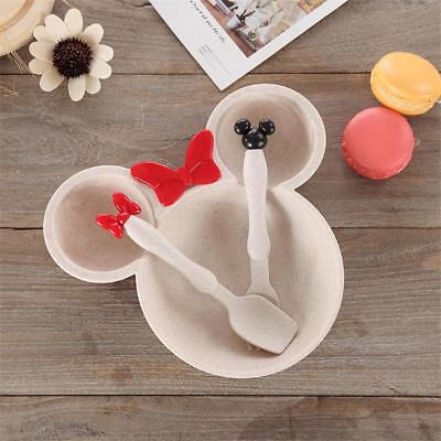 Tableware Set 3pcs Baby Bowl Food Feeding Mickey Mouse Plate Children Dishes New