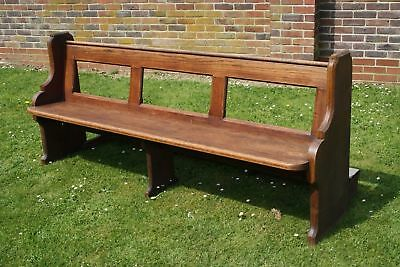 Original Solid Oak Church Chapel Choir Pew Bench With Open Back 214 cm L 92 cm H