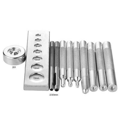 11PCS Punch Tool Snap Rivet Setter Base Kit for DIY Leather Craft Tools