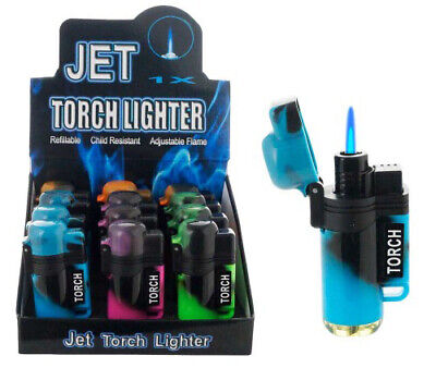 4 Pack Jet Double Torch Lighter Tie dye Adjustable Windproof Butane Refillable 2