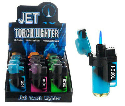 Lot of12 Jet Doube Torch Lighter Tie dye Adjustable Windproof Butane Refillable