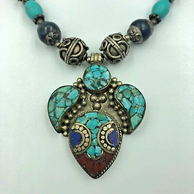 Afghan Turquoise Lapis Lazuli Gold Plated Pendant Necklace Old Tribal Antique