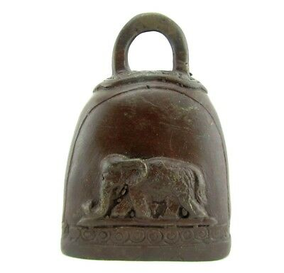 Small Antique Elephant Cow Bell Bronze Thailand Temple Decor Buddha Brass 3.5""