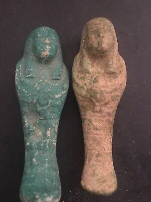 Rare Ancient Egyptian 2 Faience Shabti With Isis On The front (945-715 BC.)