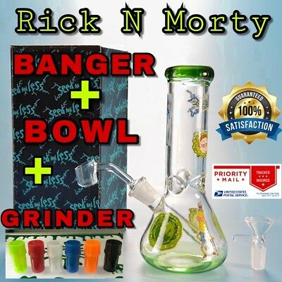 Rick and Morty Glass Water Pipe Beaker Bong + BANGER + BOWL+ GRINDER USA SELLER!