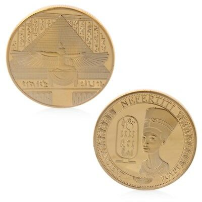 Gold Plated Ancient Egypt Nefertiti Egyptian Queen Commemorative Coin Proof