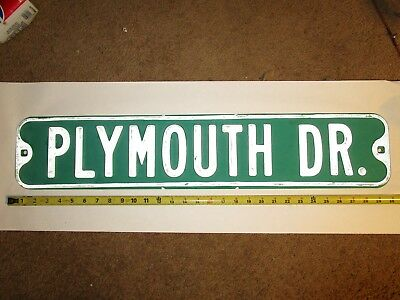 vintage retired PLYMOUTH DR street sign, authentic., automobile advertising