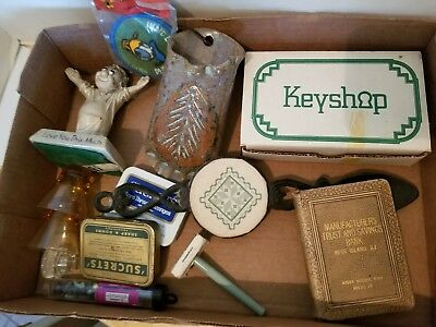 Junk Drawer Lot VINTAGE Collectibles Sucrets Tin Book Bank Door Knock & MORE