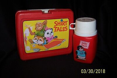 1980-81 Hallmark Cards SHIRT TALES Red Plastic LUNCHBOX w/VIP Penguin Thermos