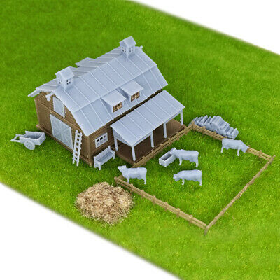 Outland Models Train Railway Layout Country Barn with Grass & 4 Cows Z Gauge