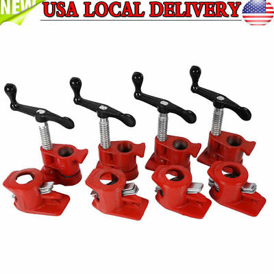 Profesional 1/2'' 4Pack Wood Gluing Pipe Clamp Kit Woodworking Cast Iron Set US