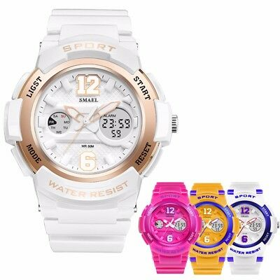 SMAEL Women Girls Digital Fashion Sport Luminous Analog Quartz Waterproof Watch