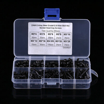 280pcs M3 Cylinder Metric Hex Socket Head Cap Screw Bolts Nuts Assorted Box Kit