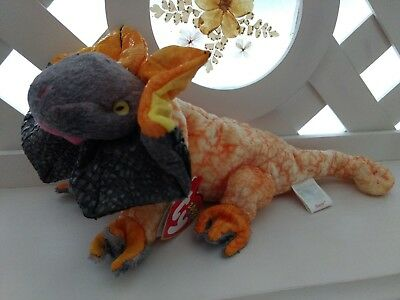 TY Beanie Baby ~ SLAYER Frilled Dragon ~ NEW with Tags Retired PE Pellets