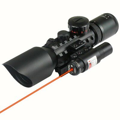 3-10x40 Rifle Sight Scope With Red/Green Dot Sighter Laser Hunting Game