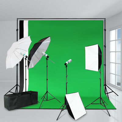 Photography Video Studio Lighting Kit 3 Backgrounds Stand Set Umbrella Soft box