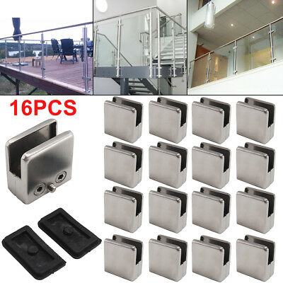 16PCS Stainless Steel Glass Clamp 304 Clip Flat Back Bracket 8-10mm For Handrail