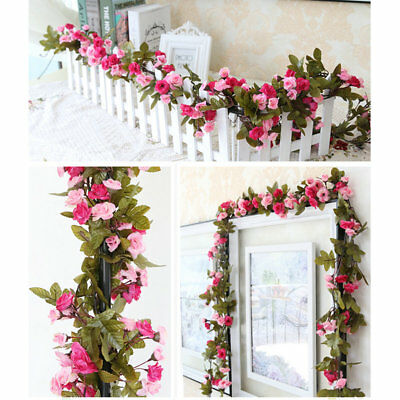 230cm Fake Artificial Flowers With Green Leaves Silk Roses Vine Hanging Decor
