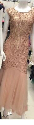 Gorgeous Size 14 Sequins Prom  Formal Wedding  Ball Gown Gold Gala